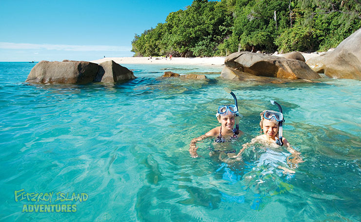 Swimming off a Great Barrier Reef Island