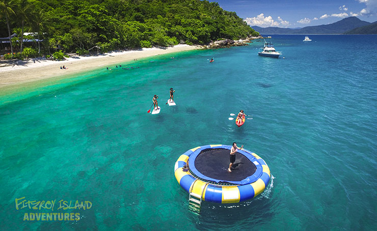 Great Barrier Reef Island Tours include Ocean Trampoline